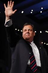 New Jersey Governor Chris Christie waves to supporters while celebrating his election night victory in Asbury Park, New Jersey
