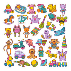 Color icons of children toys. Hand drawn vector illustrations. Doodle set
