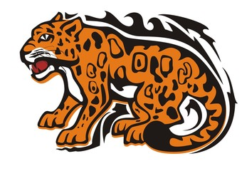 Tribal jaguar symbol. Aggressive sitting growling jaguar in orange-black tones isolated on white