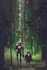 digital art with sci-fi concept of two robots walking in narrow alley with many green lights, illustration painting