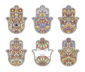 Thailand ethnic hand drawn hamsa hands. Vector ornaments