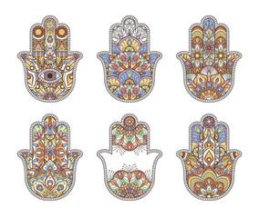 Thailand ethnic hand drawn hamsa hands. Vector ornaments
