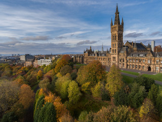 Glasgow University Gilbert Scott Building Aerial shot taken from Drone over Kelvingrove Park