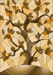 Illustration in stained glass style with an orange tree standing alone on a hill against the sky,brown tone ,sepia