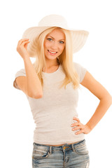 Beautiful young woman with summer hat isolated over white conceptual photo
