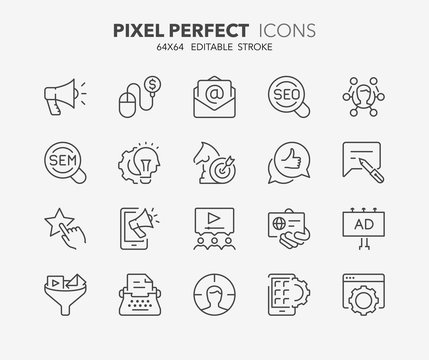 marketing advertising thin line icons