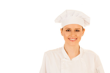 Beautiful young chef woman in uniform isolated over white background