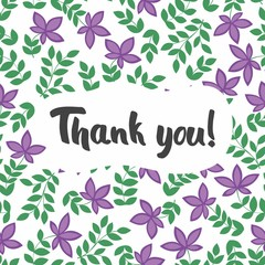 Thank you postcard. Vector seamless pattern with branches and purple flowers