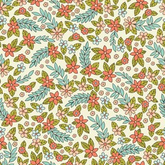 Vector seamless pattern with stylized small flowers. Decorative background