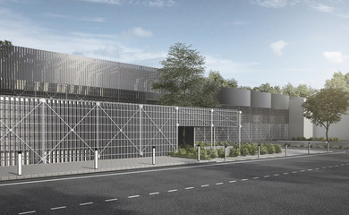 3d rendering modern industrial metal and steel structure building with tree and road