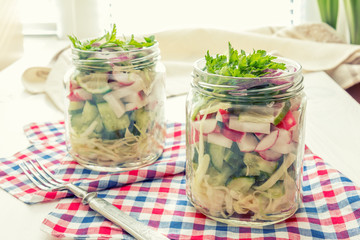 Homemade healthy salads with vegetables