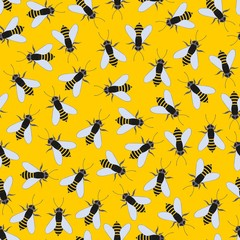 Bees on a yellow background. Vector seamless pattern