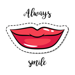 Fashion patch element smiling lips