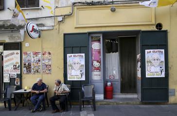 An ice cream shop sells ice cream dedicated to Pope Francis in Cassano allo Jonio