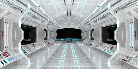 Spaceship interior with view on black window 3D rendering