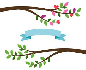 Cartoon tree branches and blue ribbon