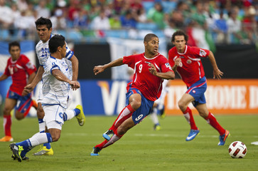 Costa Rica's Alvaro Saborio chases after the ball against El Salvador during their CONCACAF Gold Cup soccer match in Charlotte
