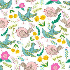 Vector seamless pattern of birds and flowers in cartoonish style.