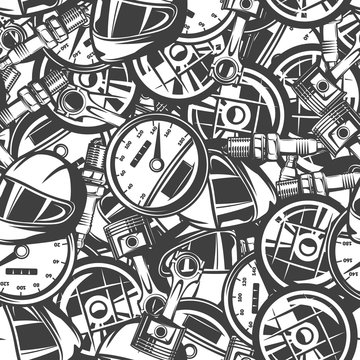 seamless pattern with automobile car parts, monochrome elements, black and white background.