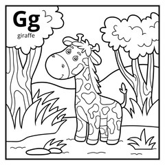 Coloring book, colorless alphabet. Letter G, giraffe