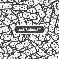 Skateboard black and white seamless pattern. Skateboarding, sk8 background. vector illustration