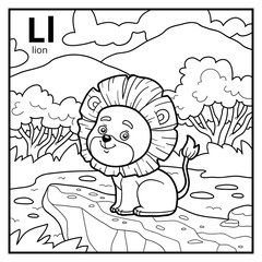 Coloring book, colorless alphabet. Letter L, lion