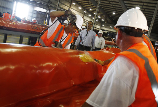 U.S. President Obama tours Theodore Staging Facility to learn about recent developments on the deep water oil spill in Theodore