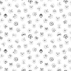 Seamless pattern with different cute animals. Children's pattern for decoration. illustration of a sketch style.