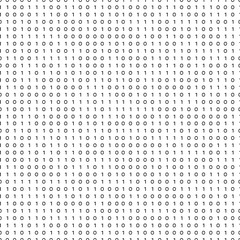 Binary Code Black and White Seamless Pattern . Binary Matrix Background. Zeroes and Ones . Algorithm Code, Decryption and Encoding. Vector Illustration