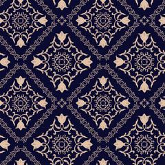 Floral pattern. Wallpaper baroque, damask. Seamless vector background. Dark blue ornament