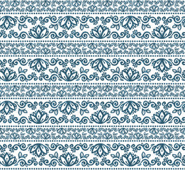 Tribal style hand drawn flowers lines vector seamless pattern