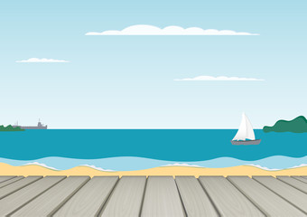 Relax vector background. Summer landscape. sand and sea and sky. calm waves on the beach. Blue sky and quiet sea. Pleasant view. Seasonal summer background. Season card. Sailboat and ship silhouettes