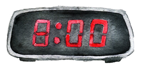 watercolor sketch of digital clock isolated on white background