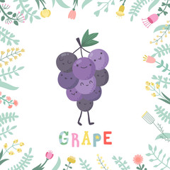 Cute cartoon grape illustration with flowers and lettering.