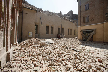 Damaged buildings are seen in Mirandola near Modena