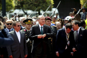 Turkish President Erdogan and Ecuador's Foreign Affairs Minister Patino attend diplomatic ceremony in front of Carondelet Palace in Quito