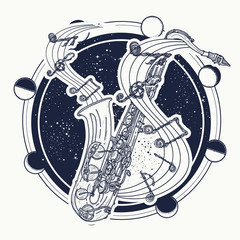 Saxophone and music notes tattoo art and t-shirt design. Notes take off from a saxophone, musical art. Sax and notes tattoo