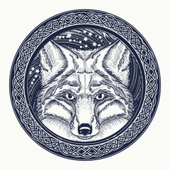 Fox tattoo. Symbol of a travel, freedom, tourism. Fox against the background of Universe tattoo art. Ethnic style t-shirt design