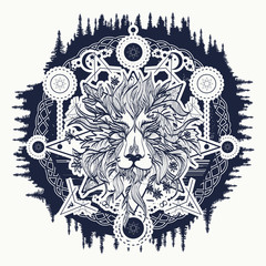 Ornamental Tattoo Lion Head. Alchemy, religion, spirituality, occultism, tattoo lion art, coloring books. Mystic Lion sketch tattoo art