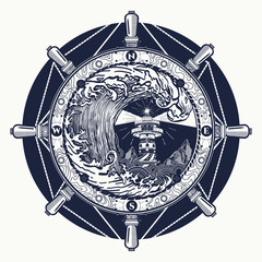 Storm tattoo art and t-shirt design. Steering wheel, lighthouse, compass. Searchlight tower for maritime navigational guidance tattoo. Ocean wave storm art. Sea tattoo