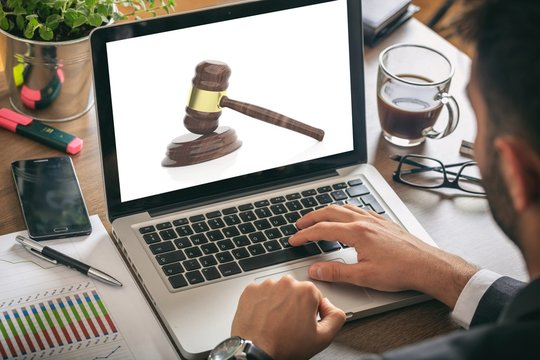 Lawyer working on a laptop