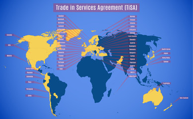 Vector map of TiSA (Trade in Services Agreement).