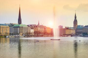 Alster Lake at sunset, Hamburg, Germany