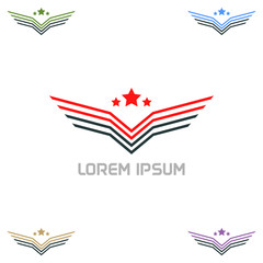Wing army lowercase flat logo design template. Colorful media icon. Vision Logotype concept idea.