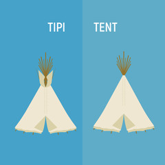 Tourist Indian or tipi tents for outdoor recreation.