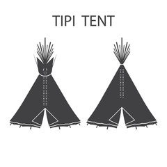 Monochrome tourist Indian or tipi tents for outdoor recreation.