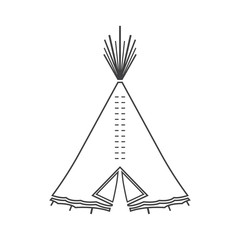 Icon or emblem of indian or tipi tent for outdoor recreation.