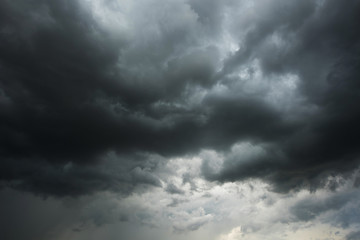 Photo sur cadre textile Ciel Dark sky and black clouds before rainy, Dramatic black cloud and thunderstorm