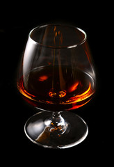elegant glass with whiskey