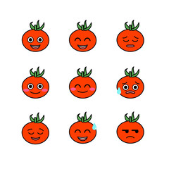 Tomatoes emojicons set with isolated white background vector